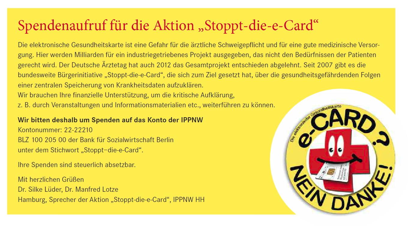 Aktion: Stoppt die e-Card!
